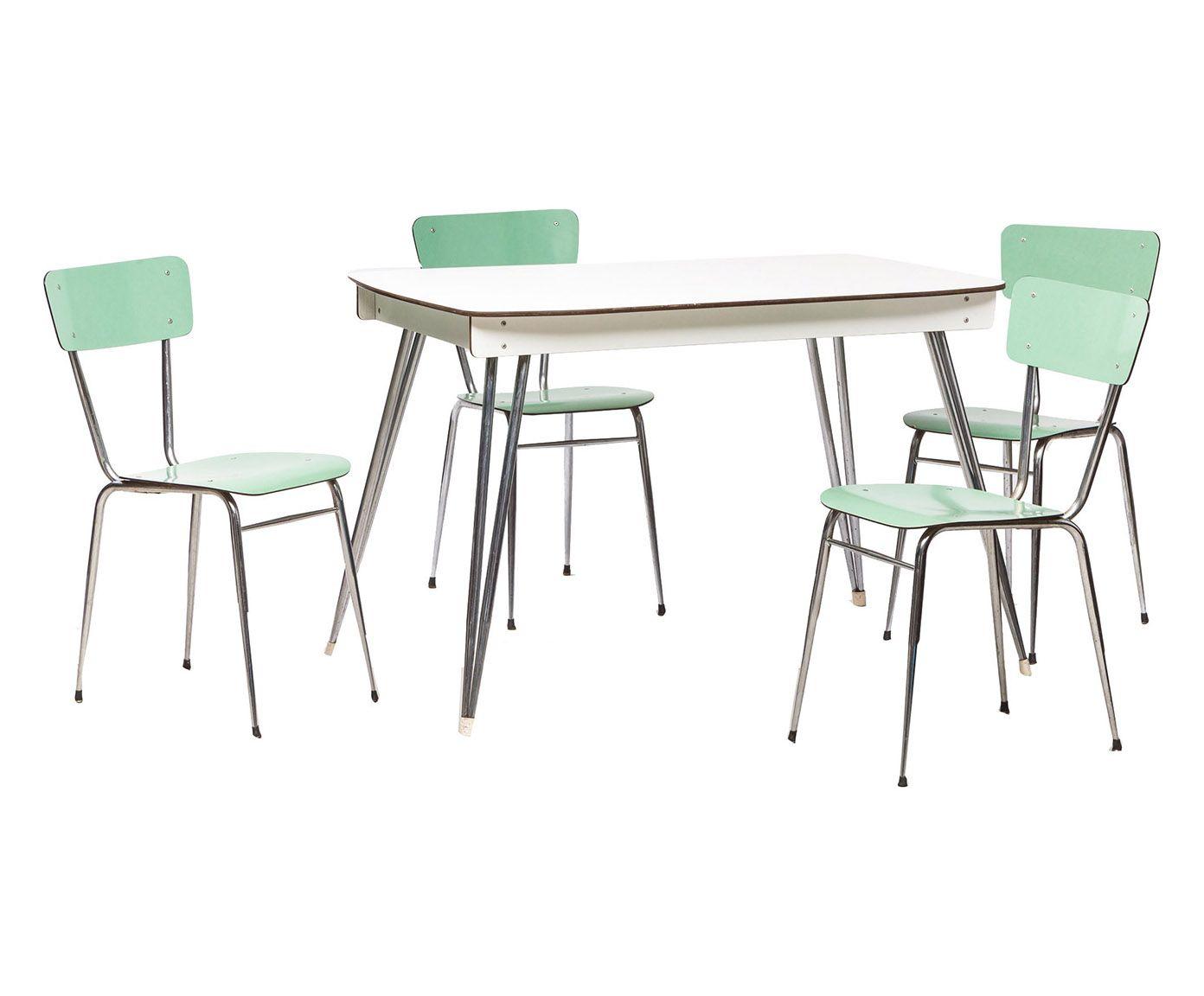 Set tavolo 4 sedie anni 39 60 in formica e acciaio for Vendita sedie cucina