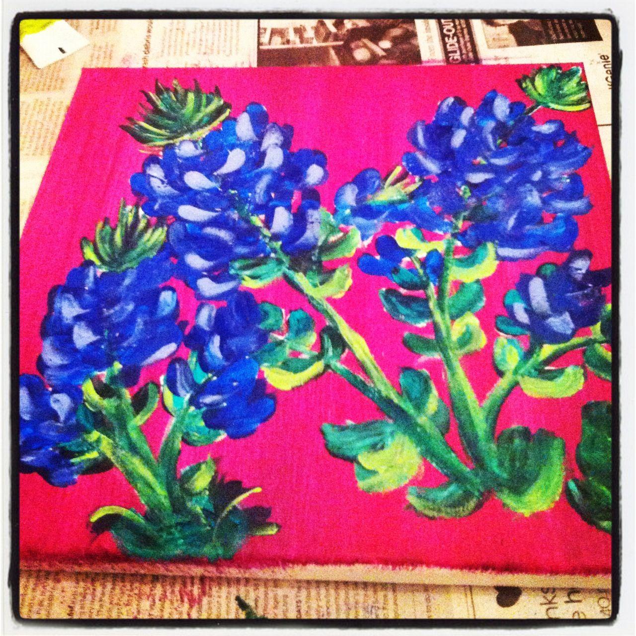 Western Decor Paint: Texas Bluebonnet Painting DIY