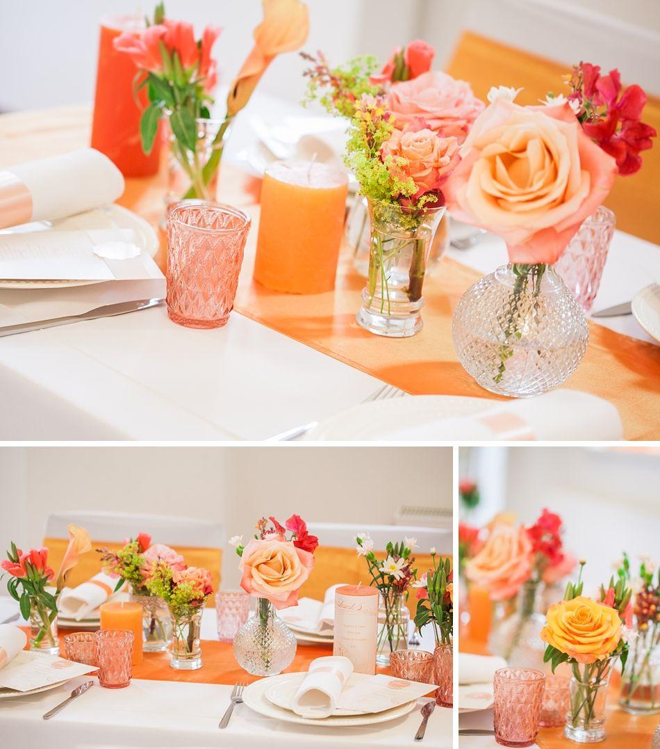 1 Hochzeitsfotografin Muenchen Apricot Tischdeko Hochzeit
