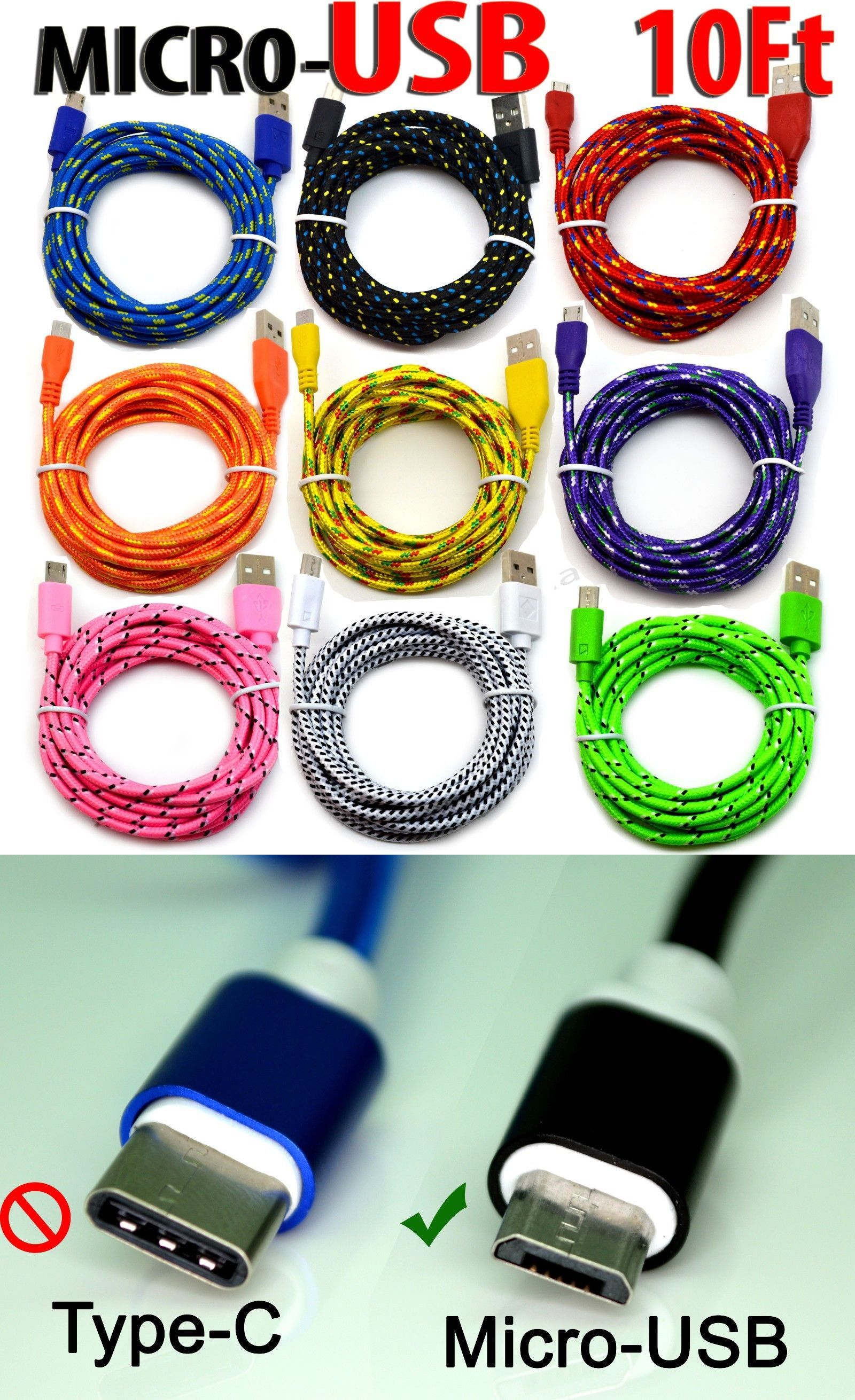 10 Foot Micro Usb 2 0 Cable For Android Phones Charging Sync Charger Cord Lot Android Phone Phone Charging Charger Cord