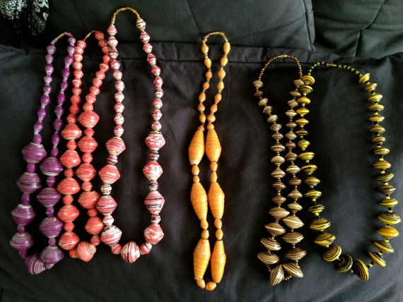Red paper bead cascade necklace handmade by Water is Life Kenya artisans