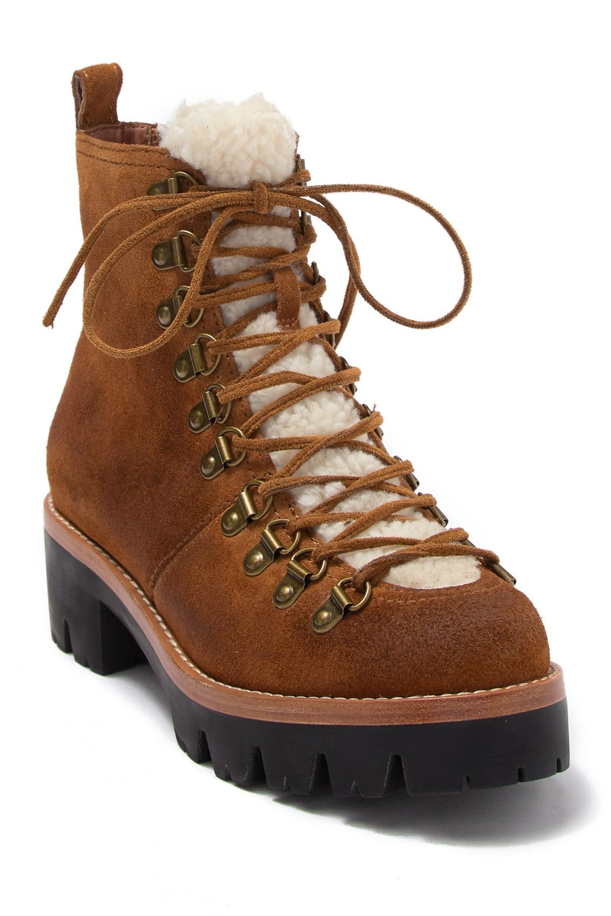Jeffrey Campbell Stanley Faux Fur Detail Lace Up Hiker Nordstrom Rack In 2021 Snow Boots Women Hiking Boots Outfit Brown Hiking Boots