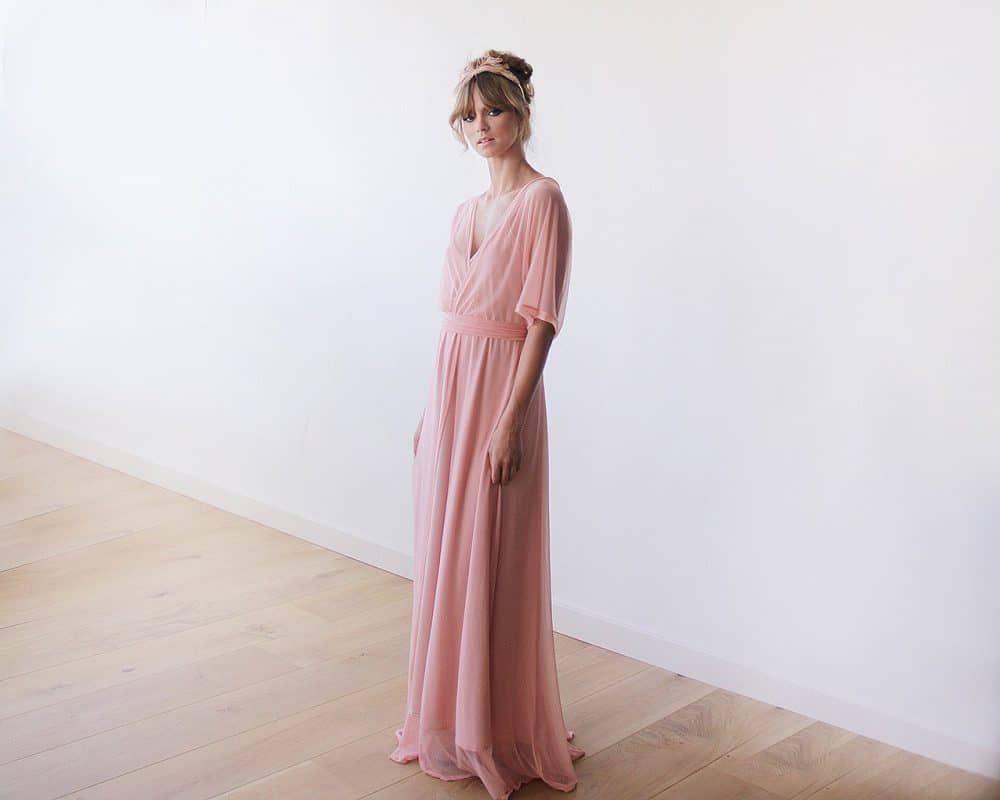 Pink Sheer Chiffon Bat-wing Maxi Dress
