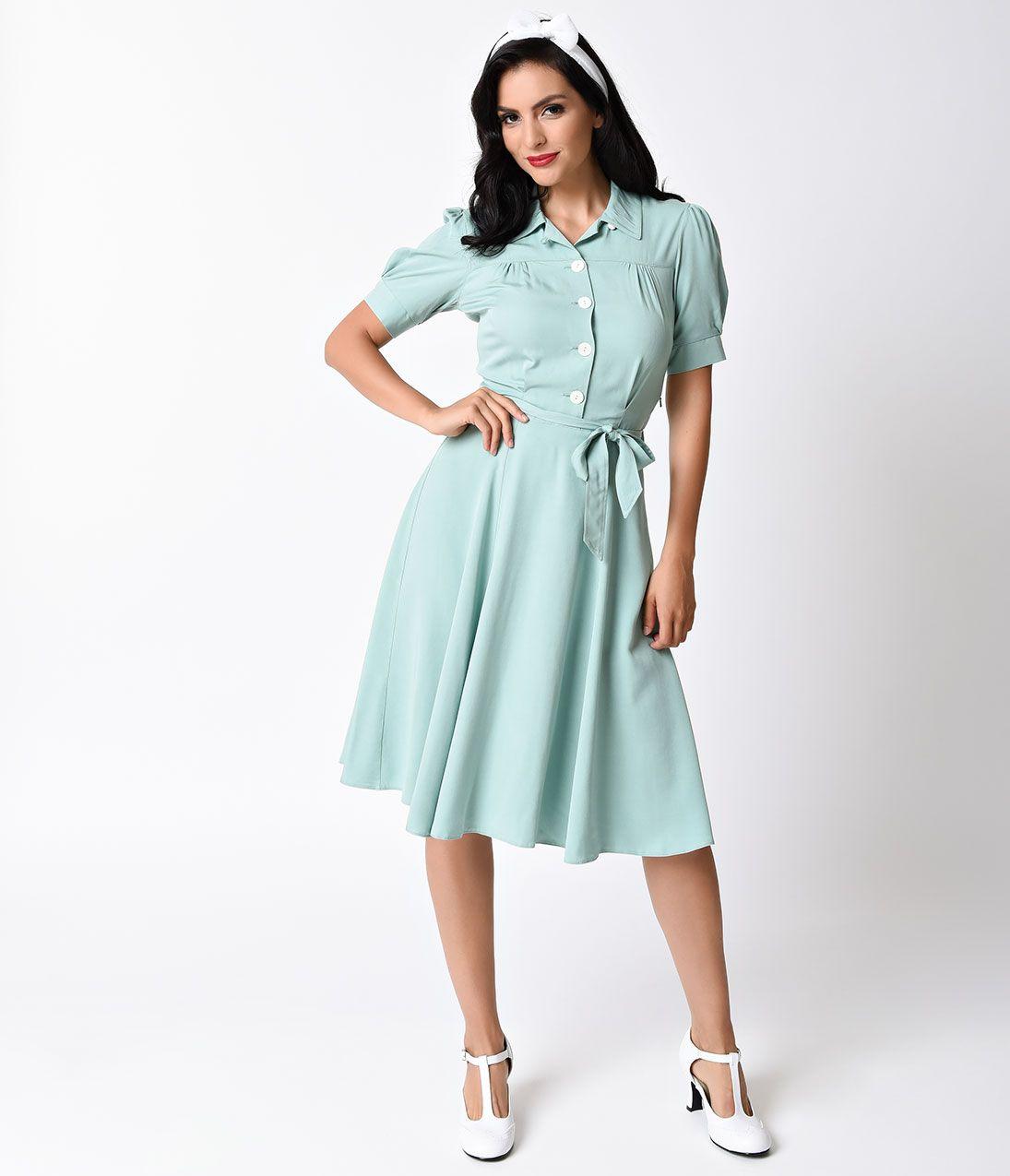 6261bf81232c 1940s Style Mint Shirt Waister Short Sleeve Swing Dress  180.00 AT…