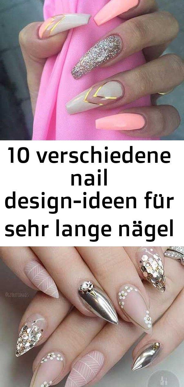 10 verschiedene nail design-ideen für sehr lange nägel