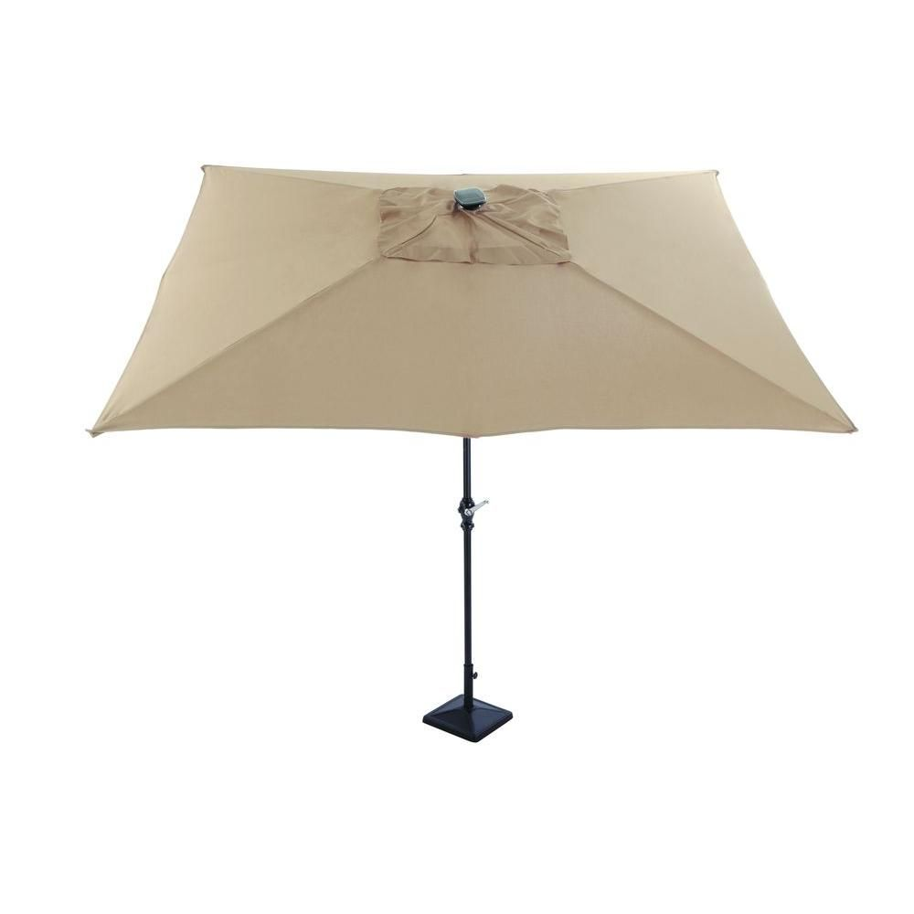 Captivating Astonica 9 Ft. Rectangular Solar Powered Patio Umbrella In  Taupe 50400146 WEB