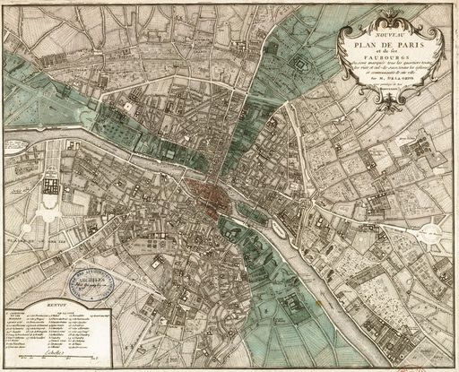 Map of Paris and its suburbs in 1740 Created by Jean Delagrive – Map of Paris and Suburbs