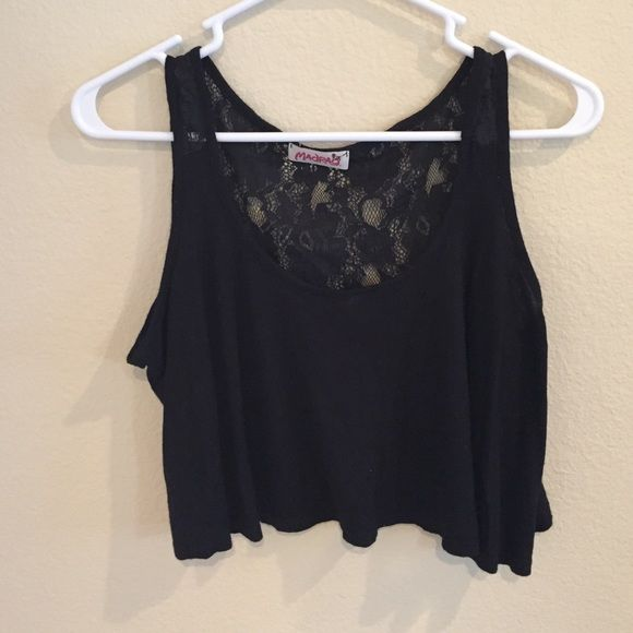 Lace back crop top 🔹sheer lace back                                                 🔹falls just above belly button                              🔹cotton material Tops Crop Tops