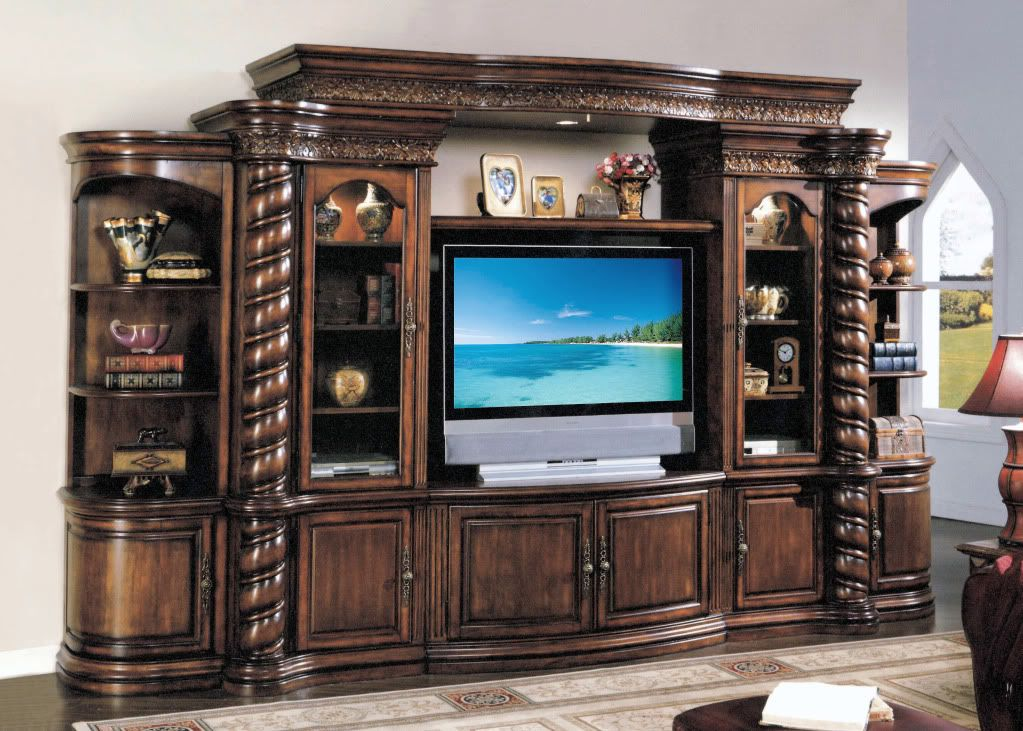 Large Ornate Walnut Tv Entertainment Center Wall Unit
