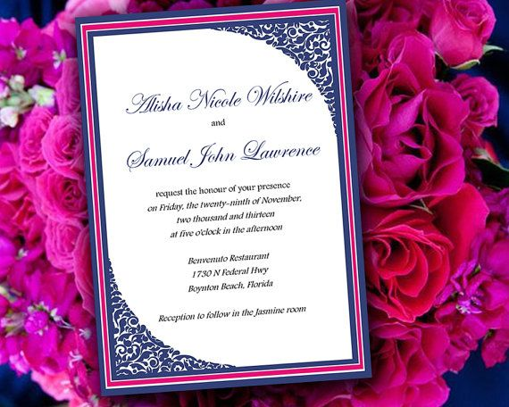 Diy Wedding Invitation Template Framed Corners Navy Blue Fuchsia Pink Able Word
