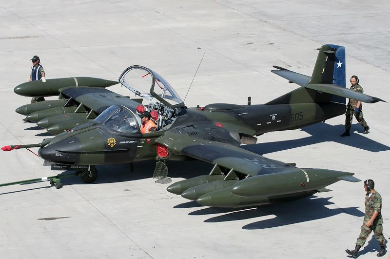 A-37 Dragonfly  Chile  Looks like eight auxiliary fuel tanks