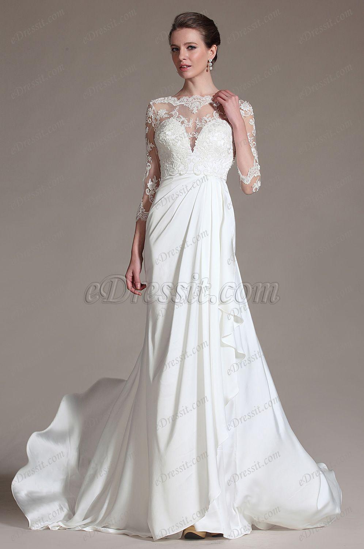 Sheer top wedding dress  eDressit  New Romantic Sheer Top Lace Wedding Dress
