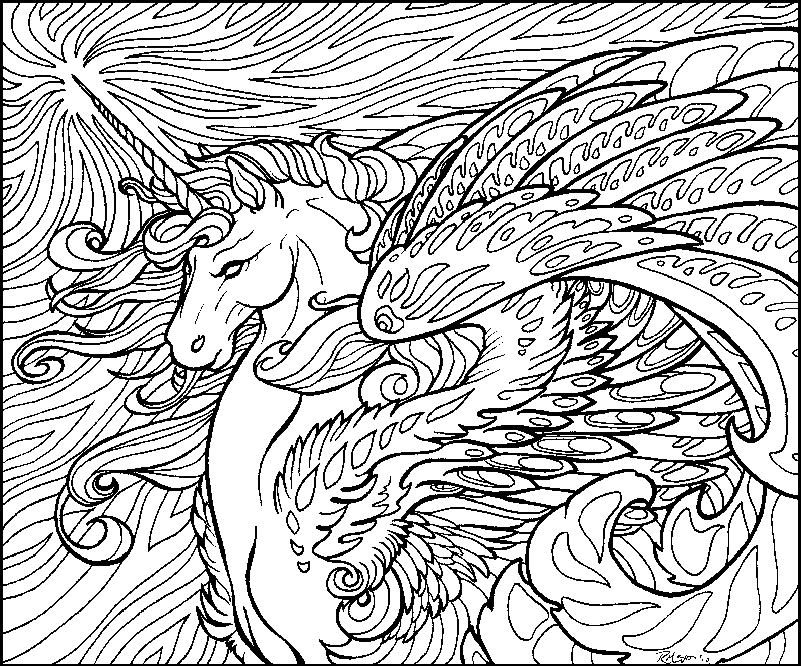 Colouring sheets hard - Hard Unicorn Coloring Pages Colorine Net 8294