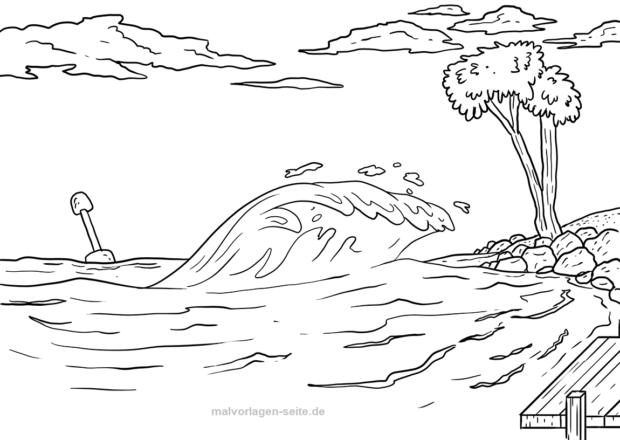Malvorlage Tsunami Wetter Malvorlagen Vorlagen Ausmalbilder