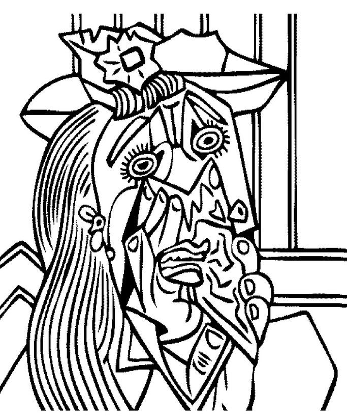 Weeping woman people of sorts to color picasso pablo - Coloriage picasso ...