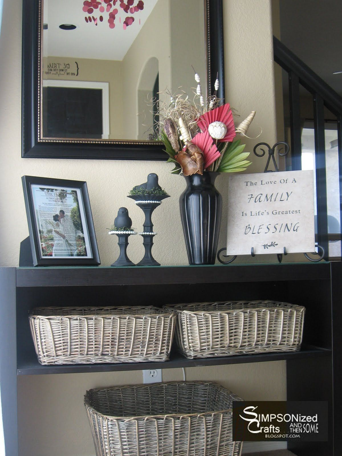 Perfect! Baskets to toss mail, magazines, etc. Large basket for ...
