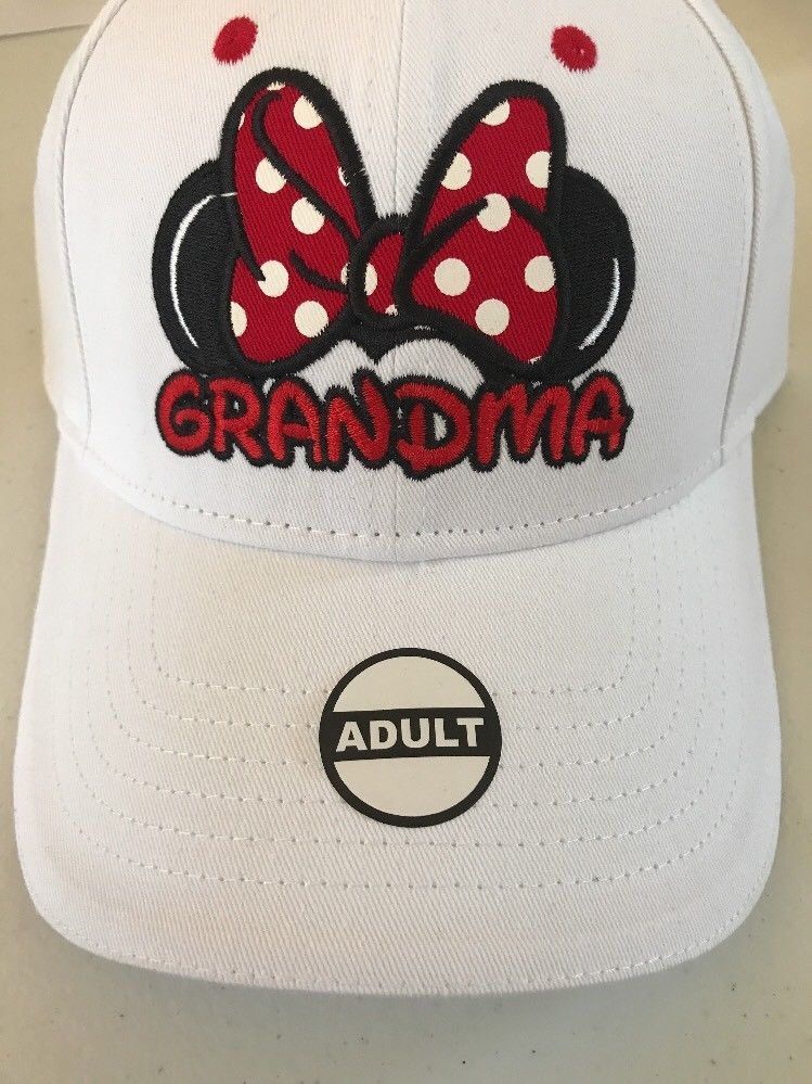 57199f3d2 Details about Disney Minnie Mouse Grandma Bow Polka Dot Adult Hat ...