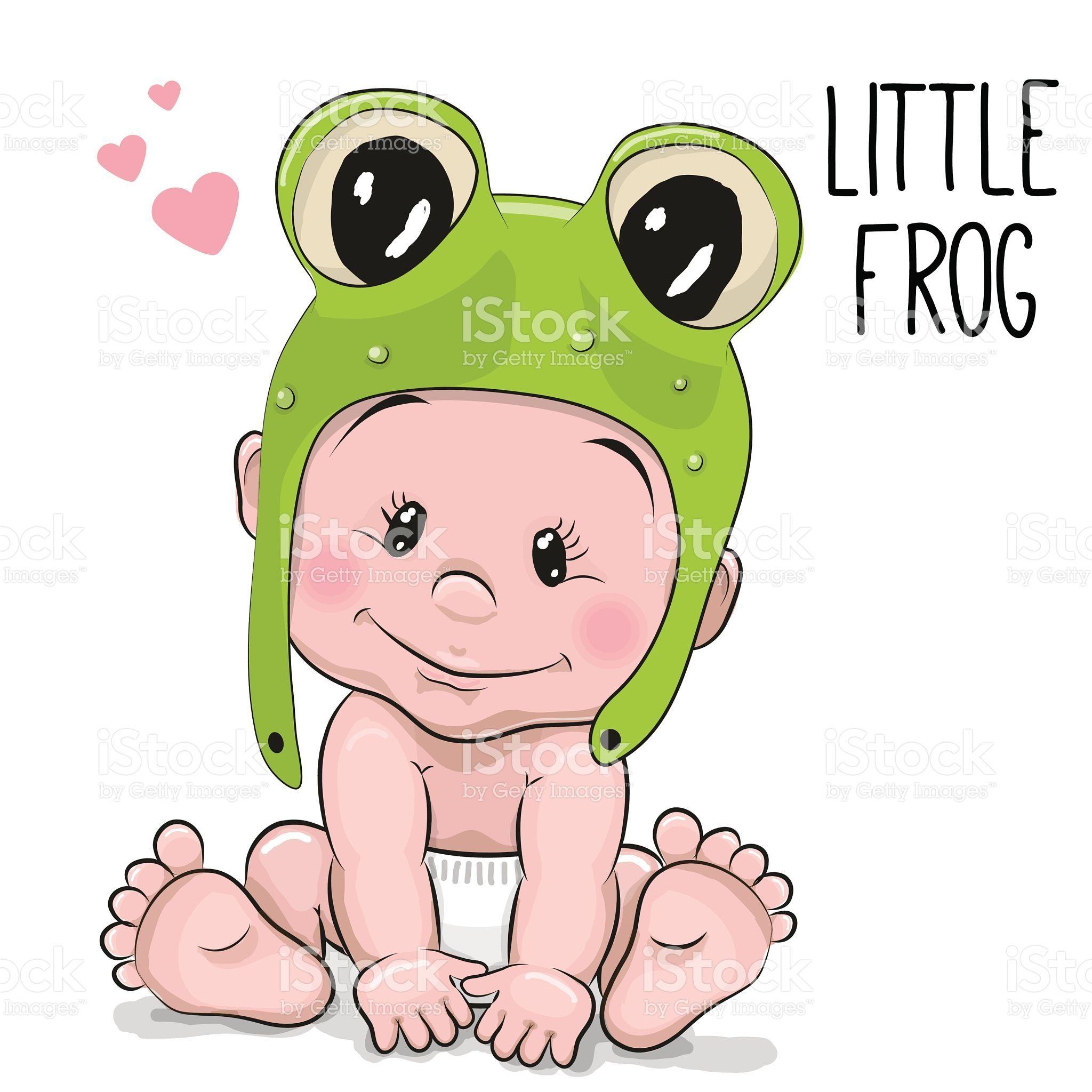 Cute Cartoon Baby Boy In A Frog Hat On A White Background Baby Cartoon Drawing Baby Cartoon Baby Clip Art
