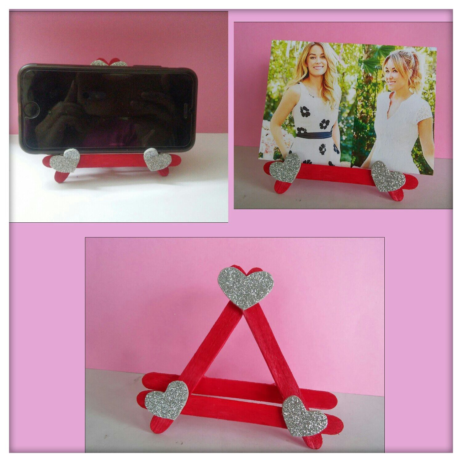 Diy Photo Frame Mobile Stand Using Ice Cream Sticks Popsicle