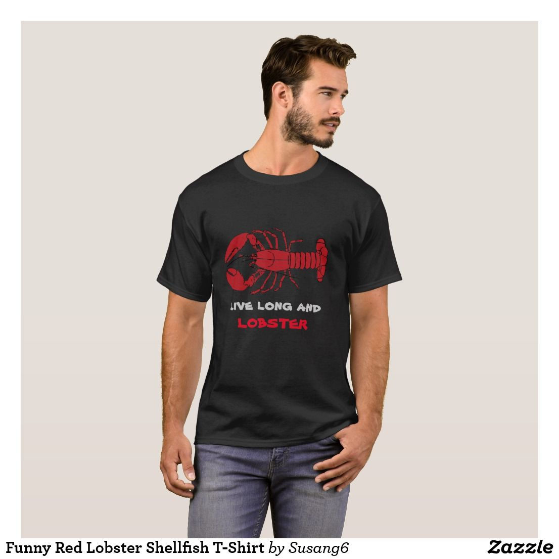 Funny Lobster Black and Red Mens TShirt T