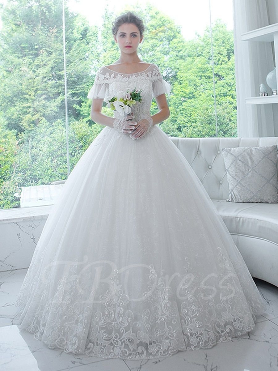 94a5ef985a11 Tbdress.com offers high quality Bateau Neck Short Sleeves Appliques Ball  Gown Wedding Dress Latest Wedding Dresses unit price of $ 186.19.