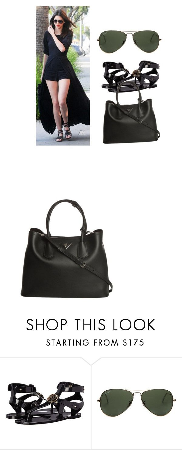 """""""My First Polyvore Outfit"""" by ninaariana ❤ liked on Polyvore featuring Versace, Ray-Ban and Prada"""