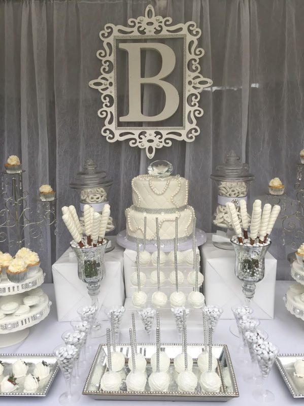 Diamonds and pearls candy buffet all white party for Images of all white party decorations