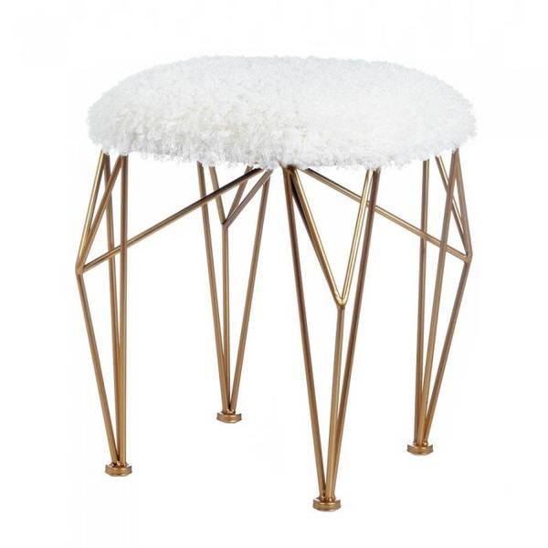 This modern marvel will add some artistic flair to your favorite seating area. Buy the Geo White Faux Fur Stool online today at Giftspiration.