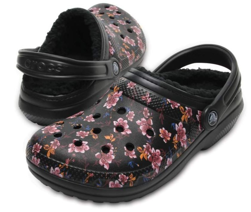 eb57181f1ba8 Crocs Lined Graphic Floral Clog Slippers Black Womens 7