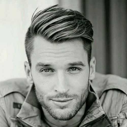 Short Layered Side Swept Hair Undercut Beard Wavy Hair Men Hairstyles For Receding Hairline Mens Hairstyles Undercut