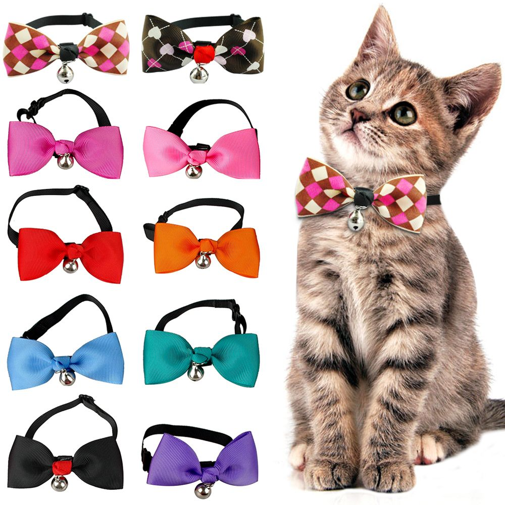 Cute Cat Bow Tie Dog Necktie Puppy Kitten Collar Bowknot With Bell Adjustable For Small To Medium Dogs Cats Cat Collars Cat Bow Kitten Collars