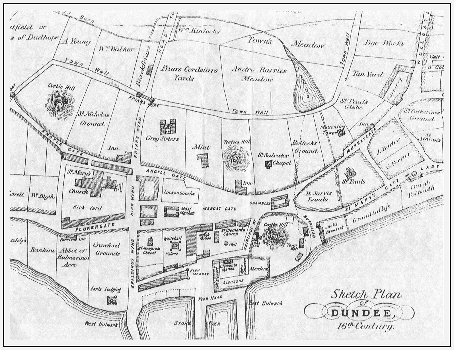 1600s map of Dundee Dundee Scotland Pinterest Dundee