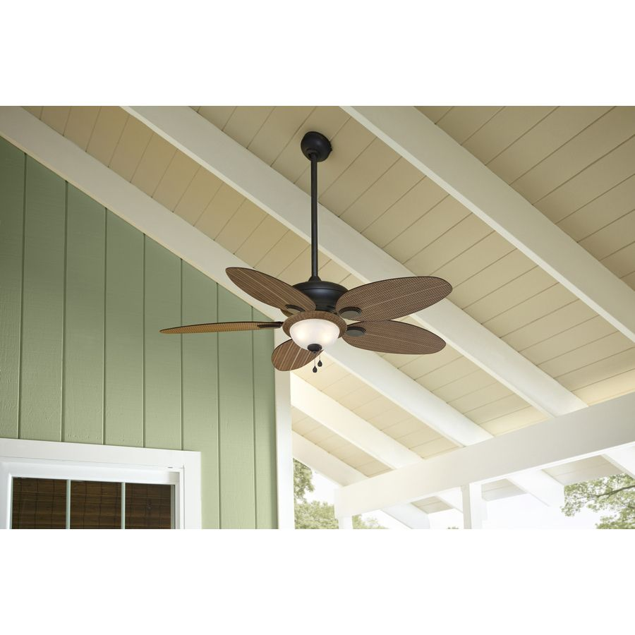 Shop Harbor Breeze Tilghman 52 In Aged Bronze Outdoor Downrod Or Flush Mount Ceiling Fan