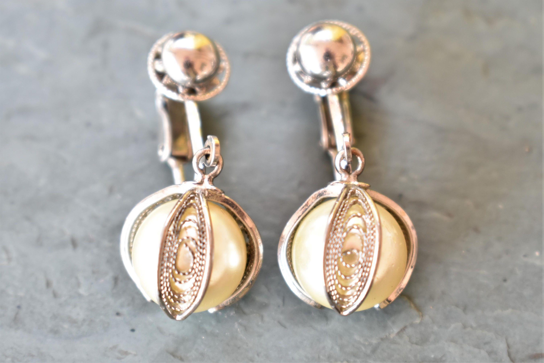 Vintage Faux Pearl Dangle Drop Clip On Earrings Filigree