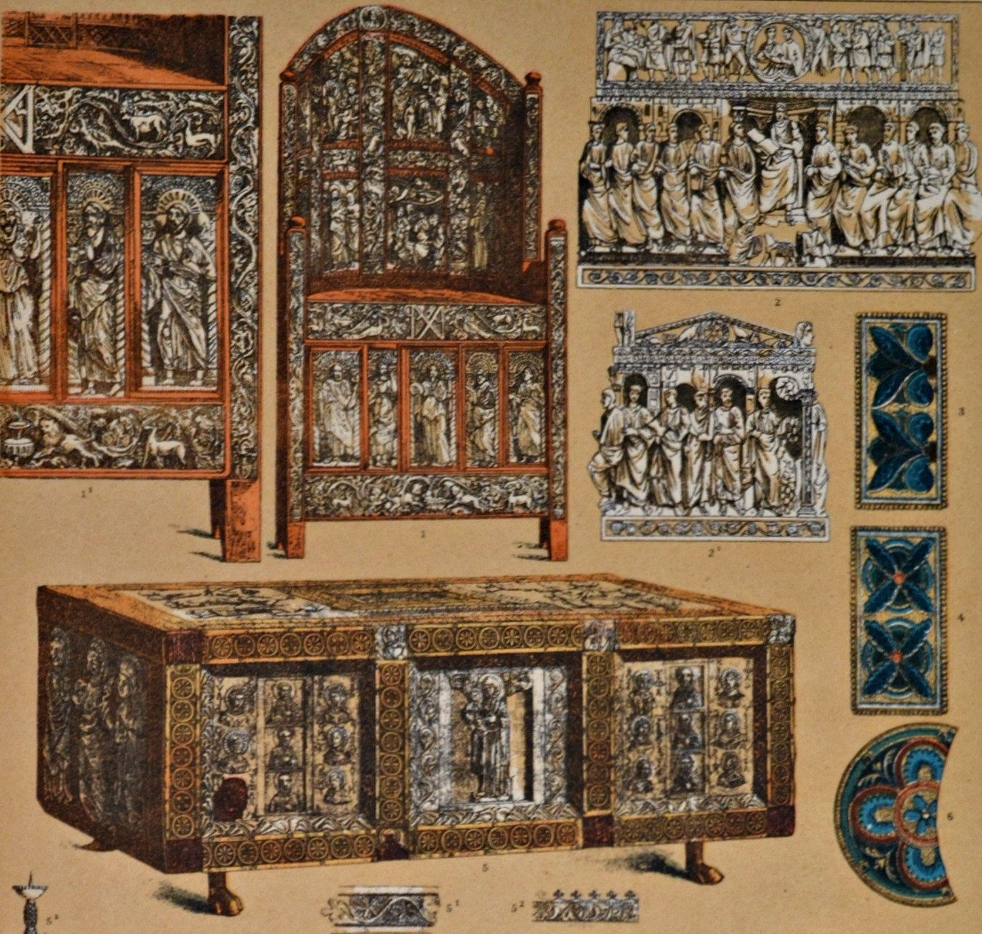 Byzantine Furnitures Ornaments And Reliefs Middle Ages  # Muebles Bizantinos