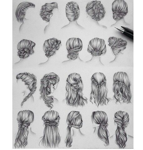 I Wish I Could Do Each Of These Styles To My Own Hair Hair Sketch How To Draw Hair Hair Illustration