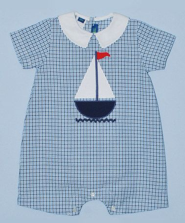 Loving this Blue & White Sailboat Romper - Infant on #zulily! #zulilyfinds