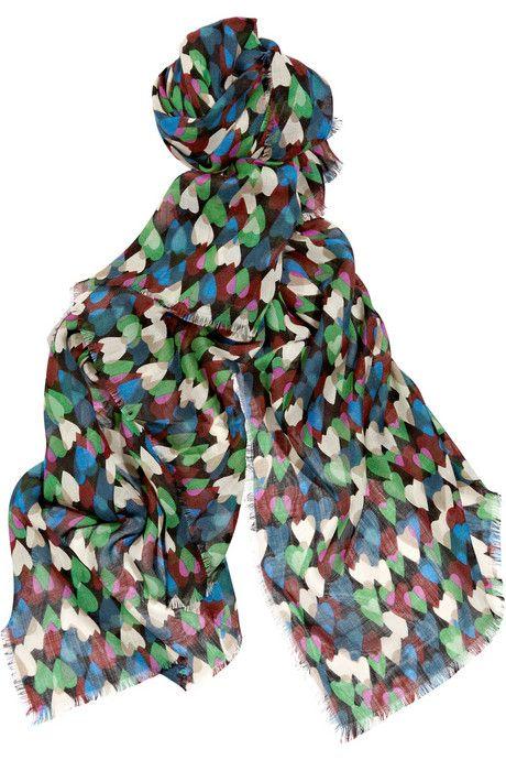 Diane von Furstenberg Hanovar heart-print wool-blend scarf -  Accessories Trends