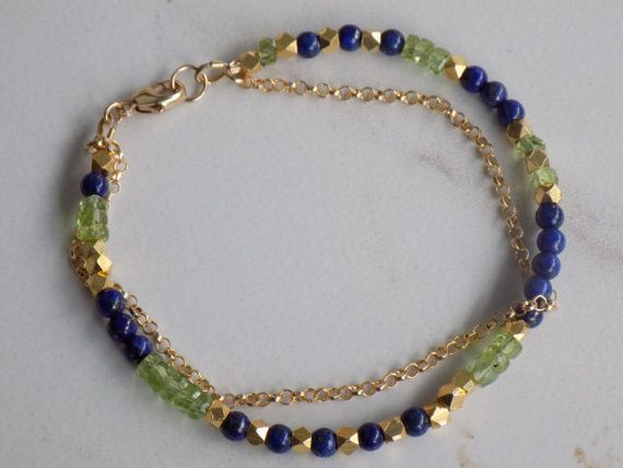 What a beautiful combination. We love peridot and its perfectly paired with the lapis lazuli. The fabulous light bright green lifts the whole