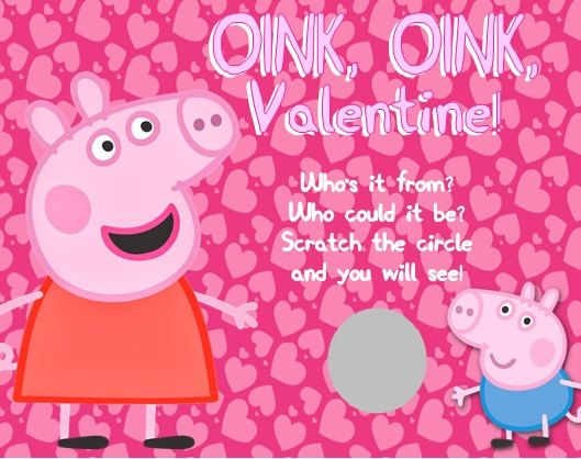 Personalized Peppa Pig Valentines Day Cards Scratch Off Style – Pig Valentine Cards