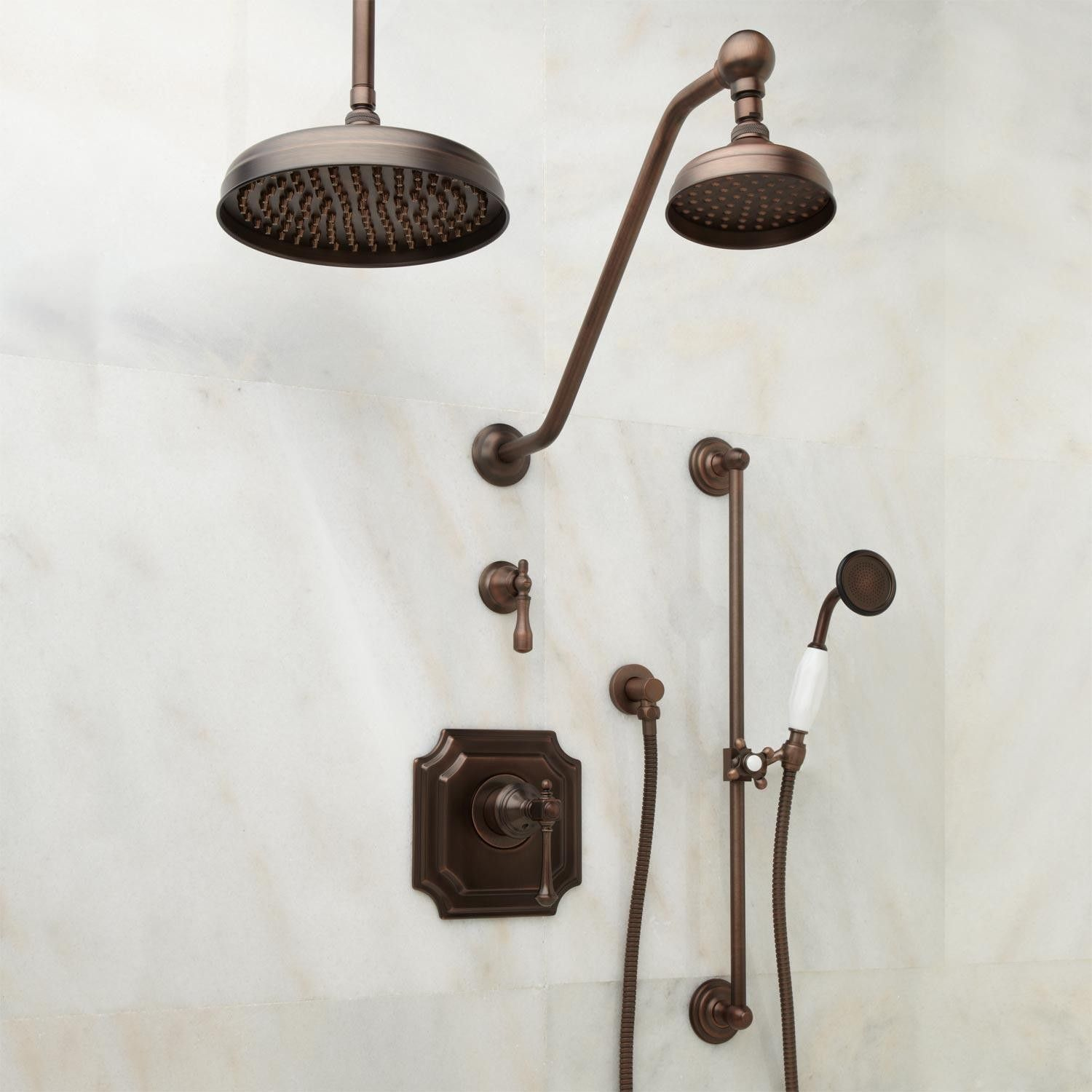 Vintage Pressure Balance Shower System - Dual Shower Heads and Hand ...