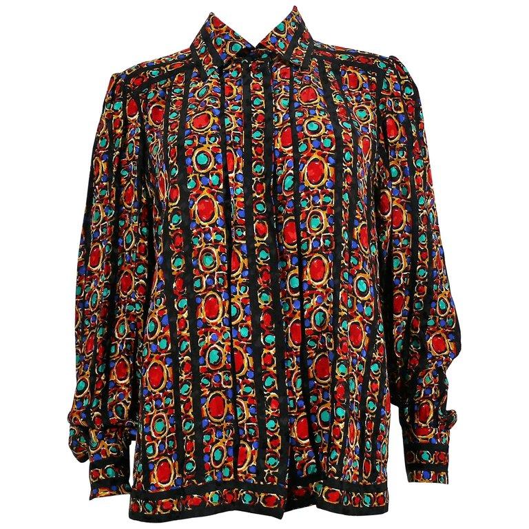 1c628f5c7f Yves Saint Laurent YSL Vintage Jewel Print Blouse | Products ...
