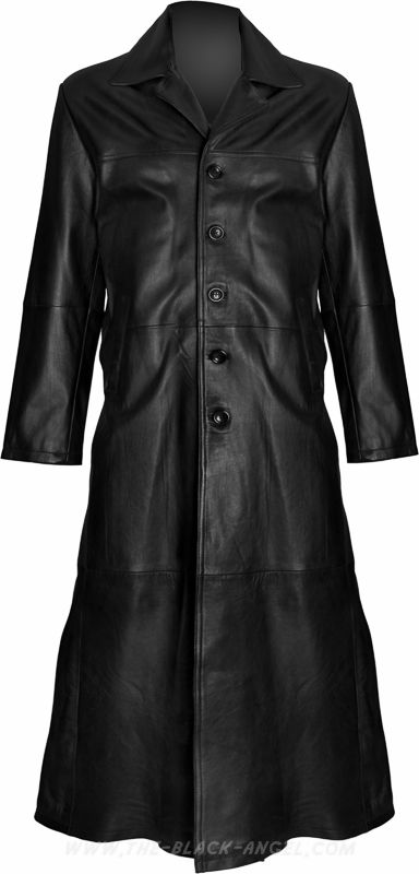 Long gothic men's coat by Hard Leather Stuff, made from genuine soft black nappa leather.