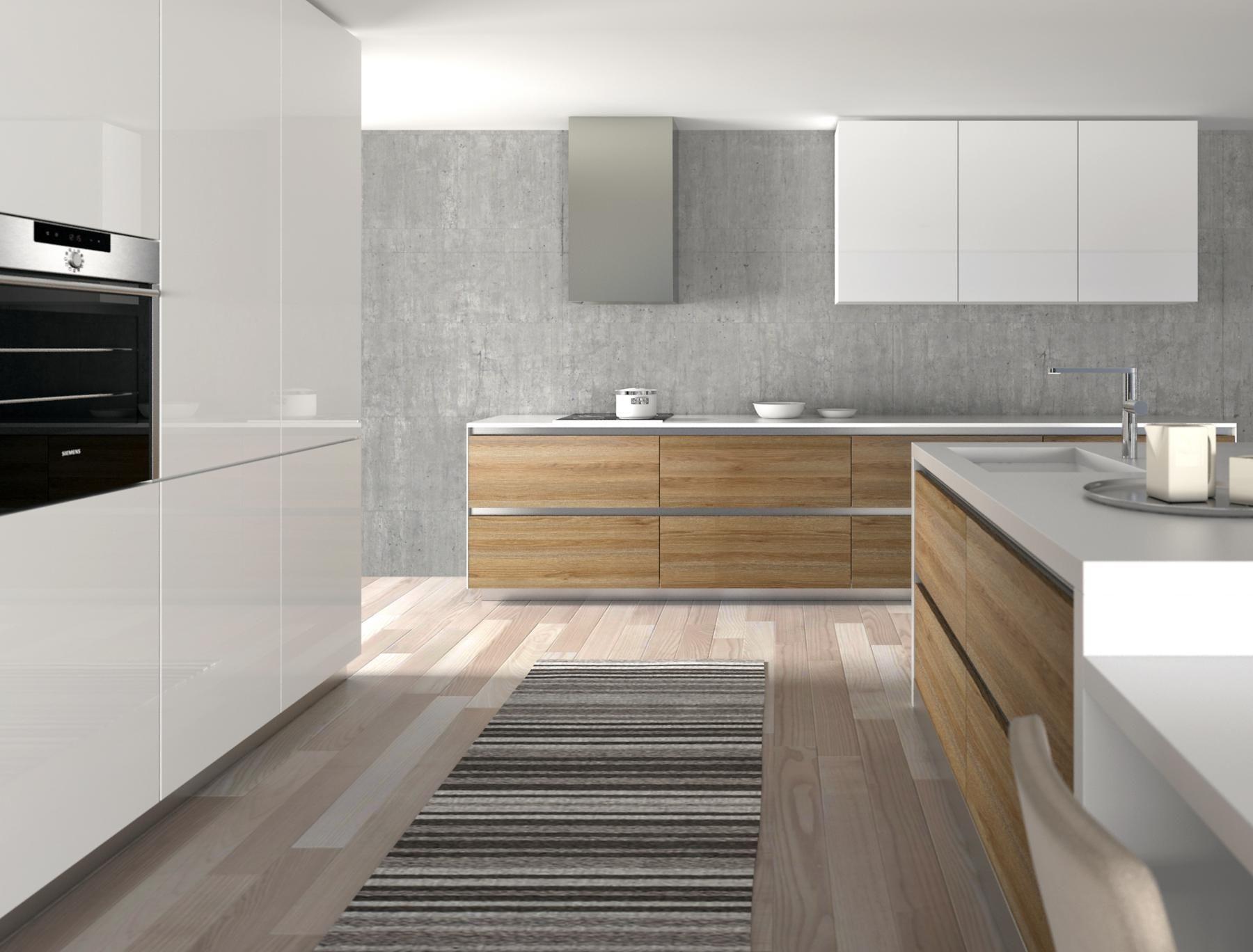 Cocina con gola y pulsadores, la combinación de un diseño en madera ...