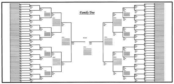 Large Family Tree Chart Bracket Style 48\