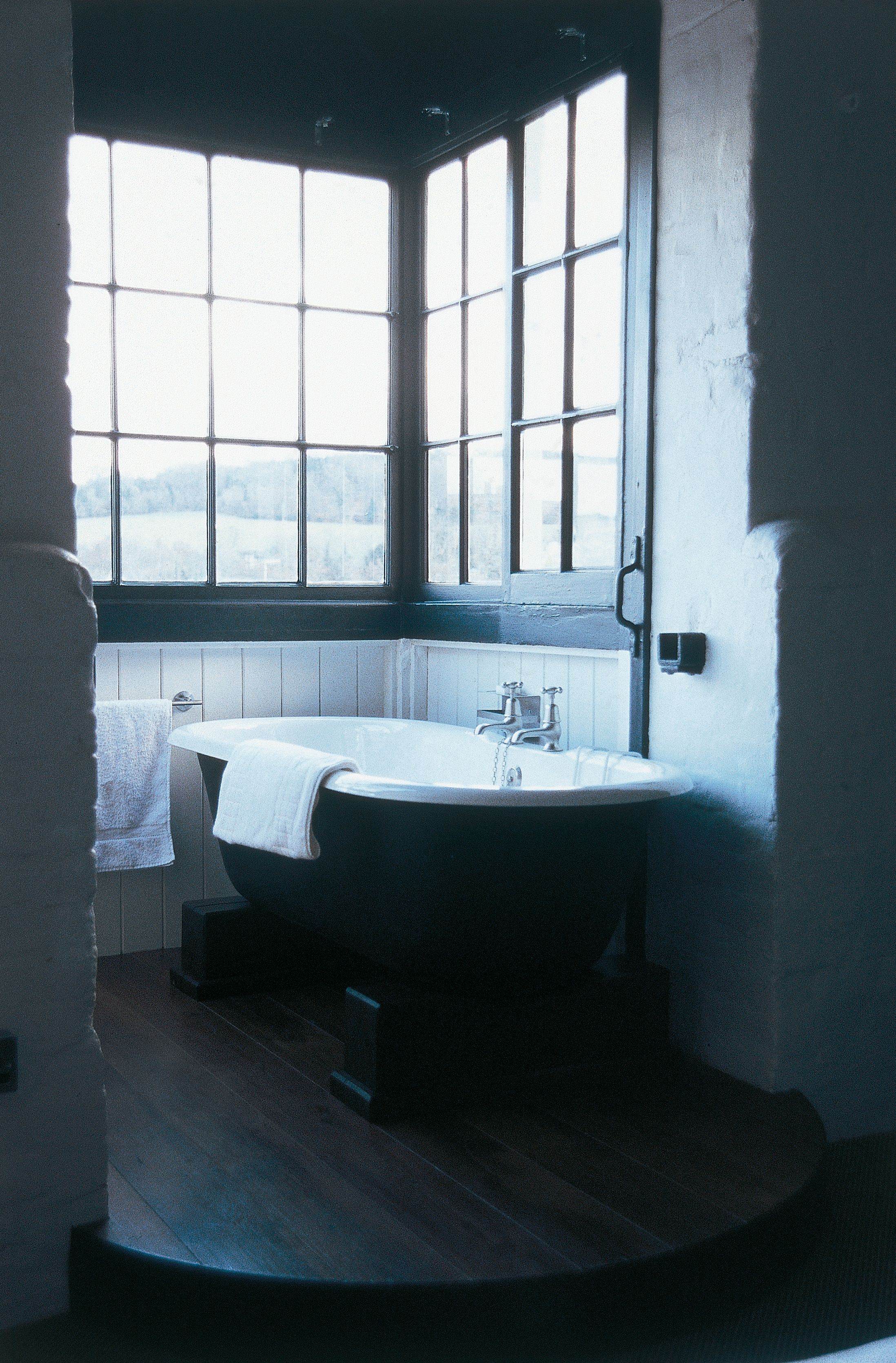 Cast iron bath in the window at Hotel du Vin. Supplied by Aston ...