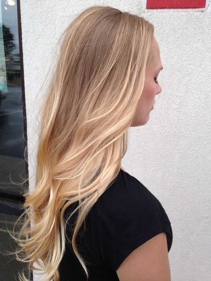 Balayaged ombré natural blonde with a sun kissed touch