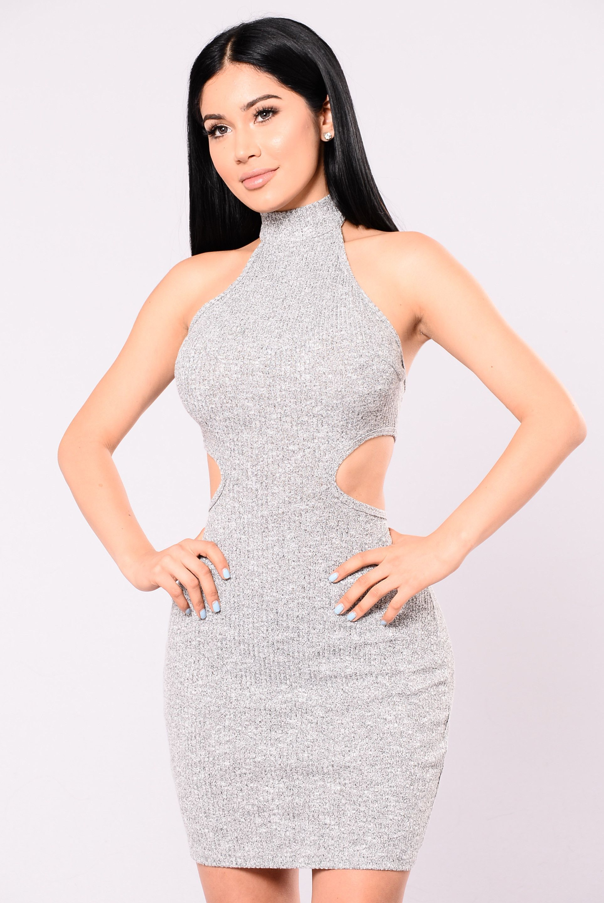 Back and fourth ribbed dress grey gray prom party and beauty women