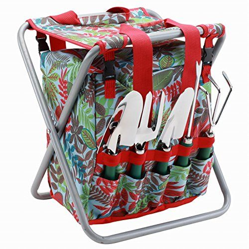 Prime 5 Piece Garden Tool Set With Tote And Folding Seat Green Uwap Interior Chair Design Uwaporg