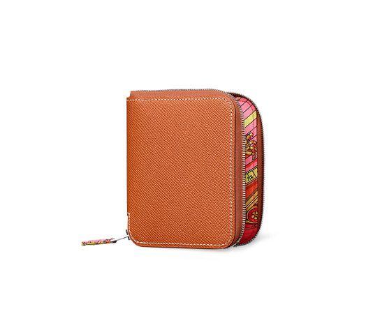 c376d62de232 Hermes compact wallet in cognac Epsom calfskin with pink